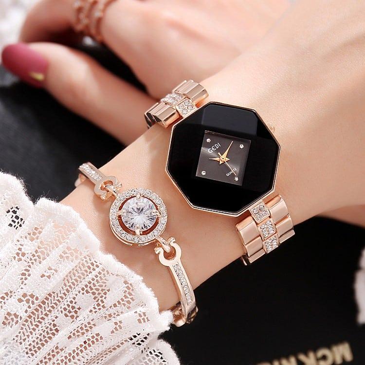 2pc Luxury Rose Bracelet Watch Set Jeviu