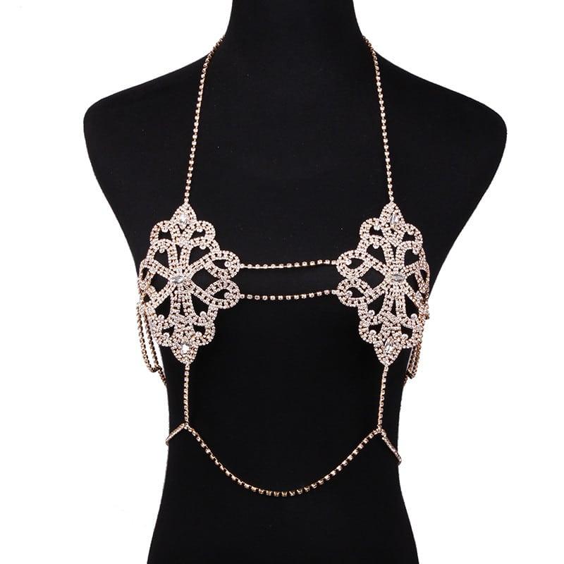 12c8c87ce7c2b Best lady Fashion Statement Jewelry Flowers Body Necklace Chain Bra ...