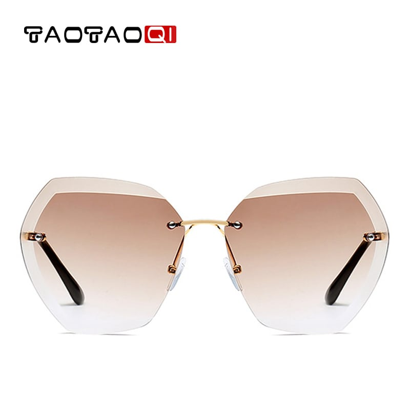 1a8c53c8606 TAOTAOQI Sunglasses Women Square Rimless Diamond cutting Lens - Jeviu
