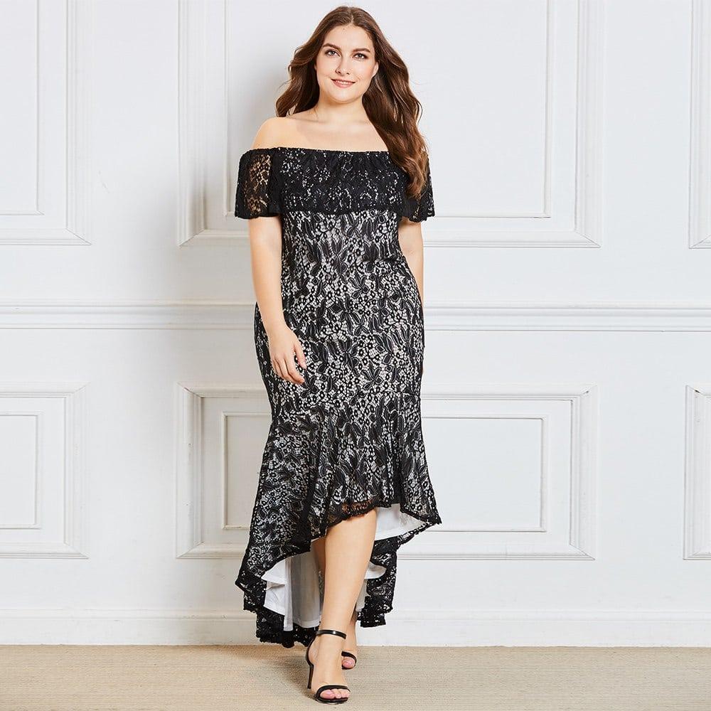 1f64de9c12b Dressv black off the shoulder plus size evening dress elegant mermaid short  sleeves wedding party formal