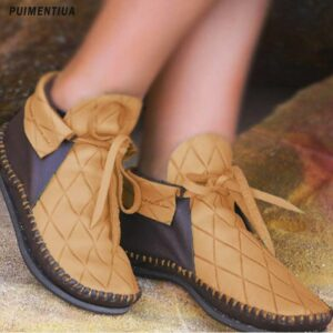 Women's PU Leather Ankle Boots Women Autumn Winter Vintage