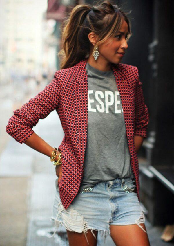 Women's Grid Blazer Jacket Red Autumn Coat Women Blazer