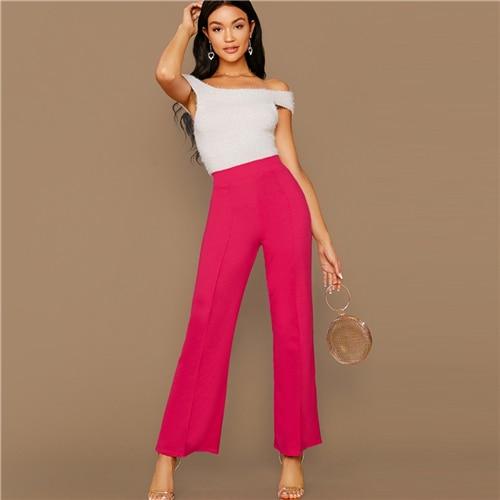 Ginger High Rise Piped Pants Elegant Wide Leg Zipper Fly Plain Workwear