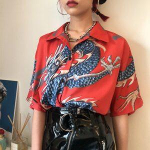 Summer Spring Women shirts Print Short Sleeve Shirts Female