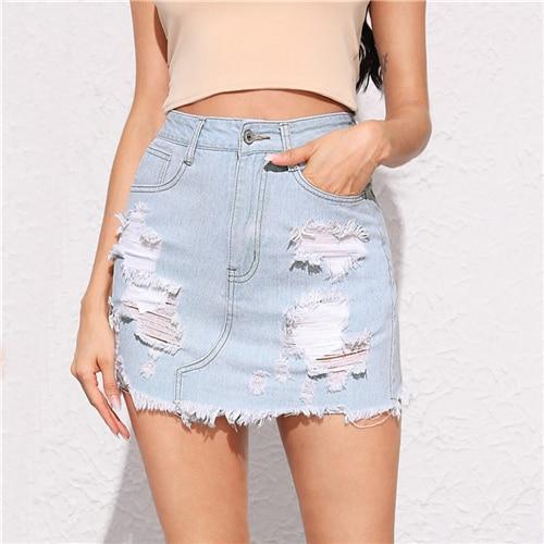 Pastel Blue Frayed Edge Ripped Detail Denim Skirts