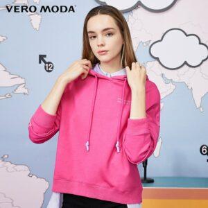Vero Moda Women Letter Print Contrasting Pullover Hoodies