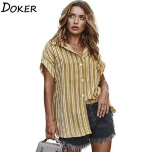 Striped Office Women Clothes Turn Down Collar Short Sleeve Women Shirts