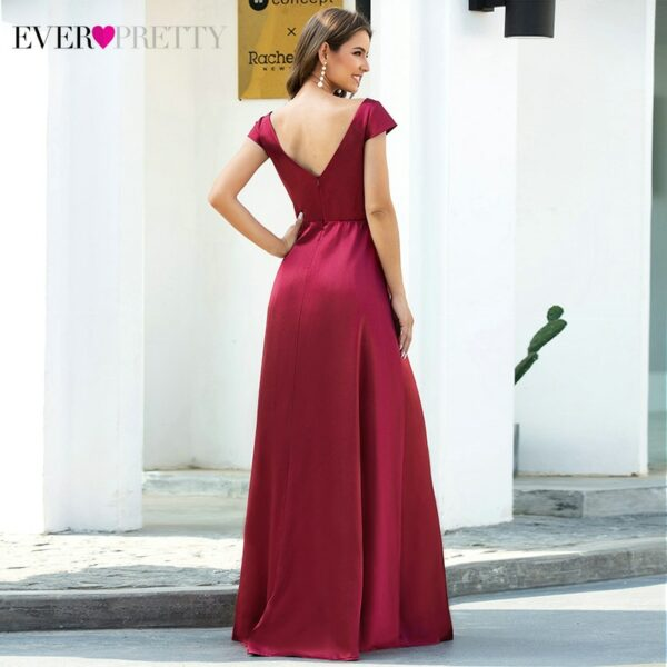 Burgundy Prom Dresses Ever Pretty A-Line Ruched Double V-Neck Cap Sleeve