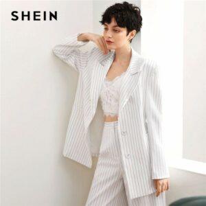Striped Blazer Women Autumn Long Sleeve Coat Office Lady Casual Long Blazers