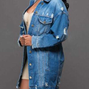 Basic Long Jeans Coats Women Slim Ripped Denim Jacket Elegant Vintage Frayed Jackets