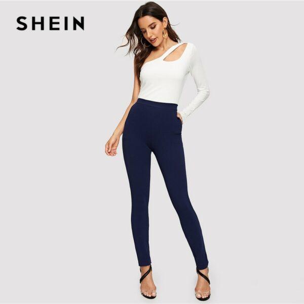 Blue Pocket Side Solid Textured Elastic Waist Skinny Pants