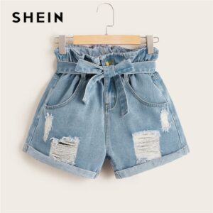 Ripped Rolled Hem Denim Shorts Women Blue Pocket High Waist Shorts