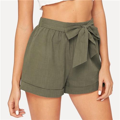 Army Green Solid Mid Waist Shorts Fashion Summer Shorts