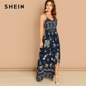 Navy Lace Waist Split Front Dress Elegant Slim Floral Print Sleeveless= Party Dresses