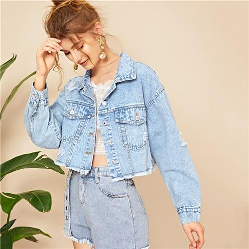 Blue Ripped Frayed Edge Flakes Crop Denim Jeans Jacket