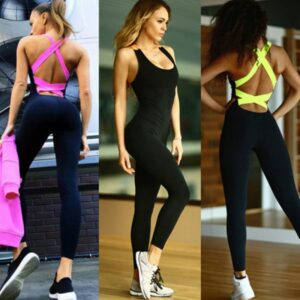 One Piece Sport Clothing Backless Sport Suit Workout Tracksuit For Women