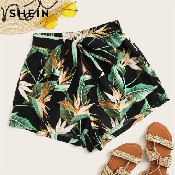Multicolor Tropical Print Belted Bohemian Shorts Women Summer Beach