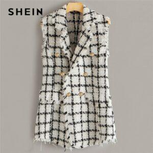 Plaid Notch Collar Frayed Edge Tweed Vest Blazer Women