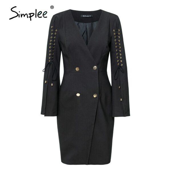 Elegant lace up split blazer women dress