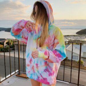 oversized pink Hoodies for Women Fashion Print Sweatshirt Hoodie