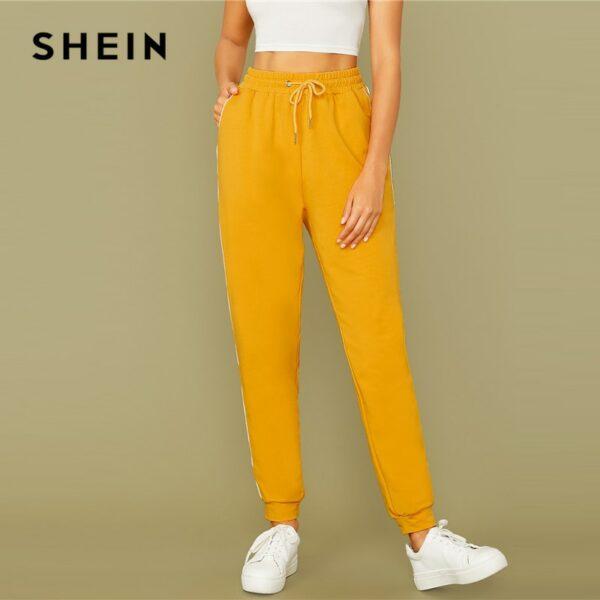 Bright Yellow Drawstring Waist Contrast Piping Carrot Pants