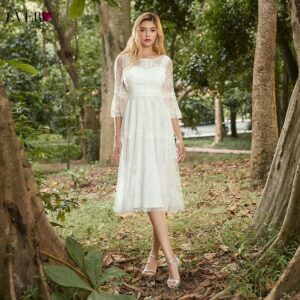 Elegant Cream Homecoming Dresses A-Line 3/4 Sleeve Knee-Length Floral