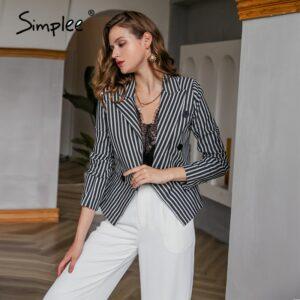 button spring stripe women blazer coats vintage high fashion coat