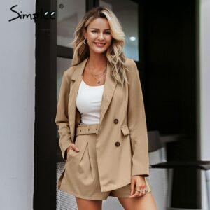 Elegant two-pieces women short suit Casual suits female blazer