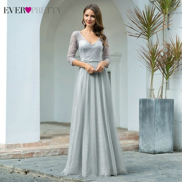 Elegant Prom Dresses A-Line Double V-Neck 3/4 Sleeve Sequined Sparkle Lace Party Gowns