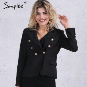 Double breasted white blazer Women coat elegant slim suit blazer Black