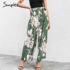Floral print wide leg pants women Elastic casual pants trousers