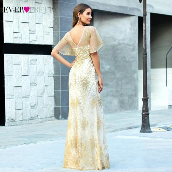 Sexy Rose Gold Prom Dresses V-Neck Ruffles Sleeve Sparkle Mermaid Party Gowns