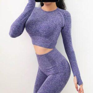 Vital Women Sport Suit Yoga Set Gym Workout Clothes Long Sleeve Fitness Crop Top