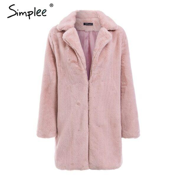 Pink shaggy women faux fur coat