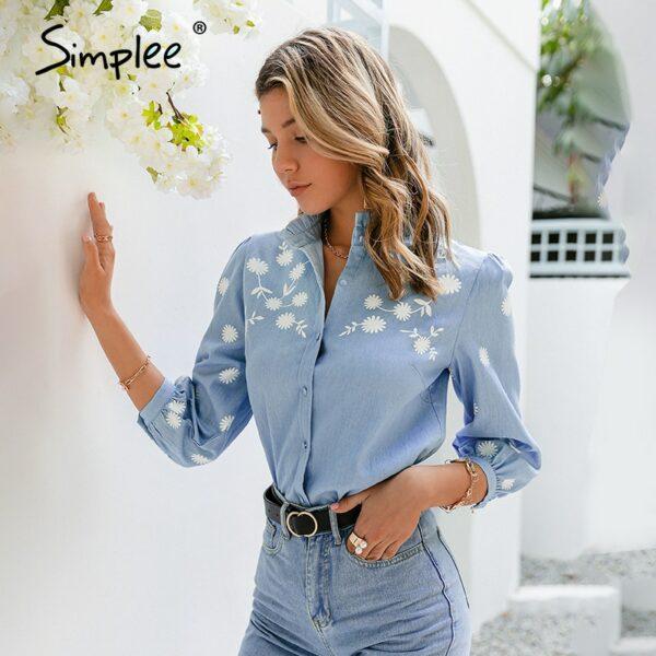 Denim Light Blue Puff Sleeve Female Mid-length Sleeve Women Shirt
