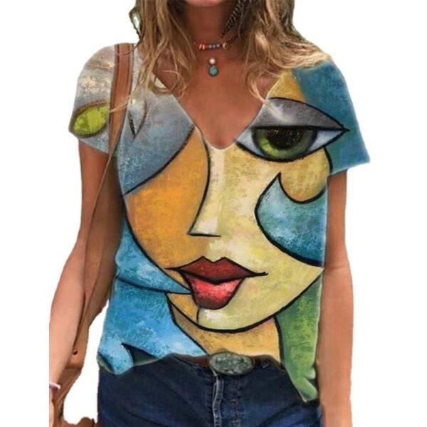 V Neck Tshirt Women's Summer Casual