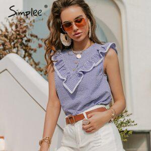 Casual women sleeveless plaid shirt Ruffled O-neck office lady shirts