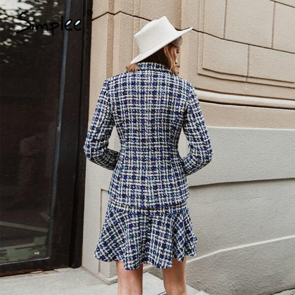 Elegant autumn winter plaid women blazer coat Causal long sleeve coat