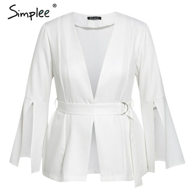 Sexy v neck plus size women blazer coat Autumn winter belted bell sleeve white coat