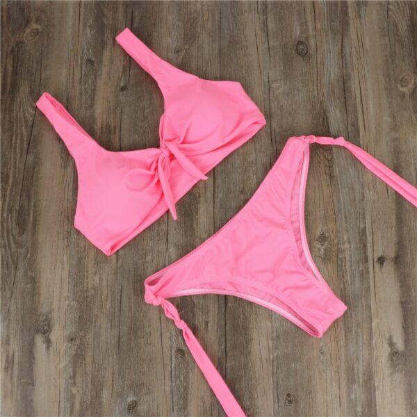 Sexy Bow Bikini String Swimwear Women Solid Swimsuit